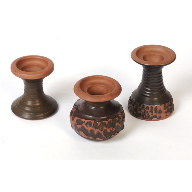 Mid-Century Designs West Redware Vases Candleholders-Set of 3 For Sale - Image 4 of 9