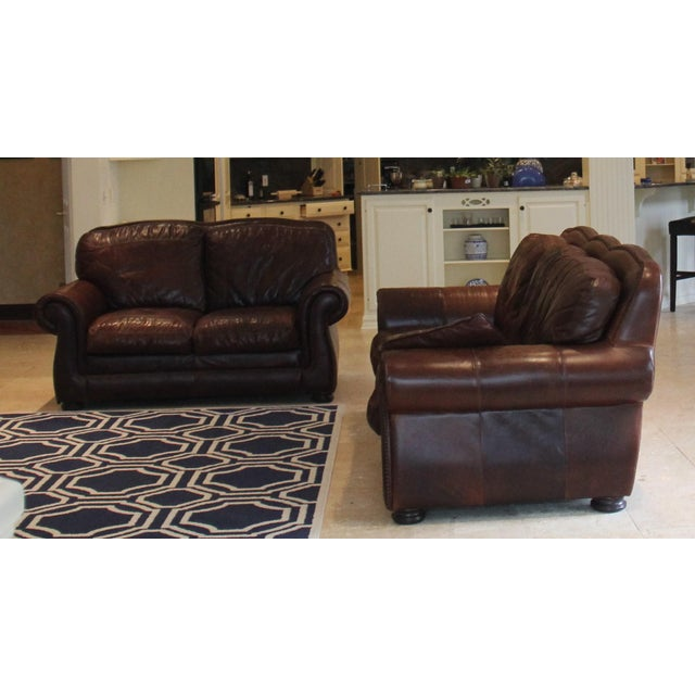 Haverty S Leather Trend Vintage Autumn Sofa And Loveseat