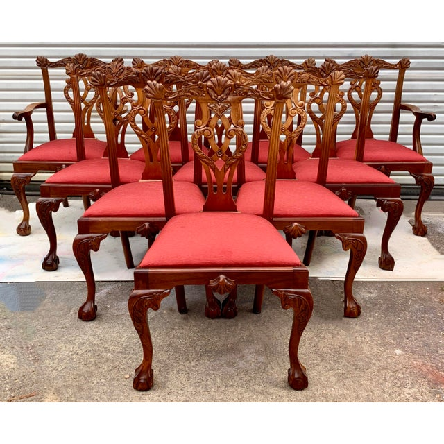 Set of 10 Ball and Claw Chinese Chippendale Style Dining Chairs For Sale In Atlanta - Image 6 of 12