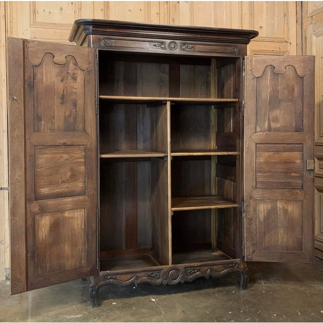Baroque Antique French Louis XIV Walnut Armoire For Sale - Image 3 of 13