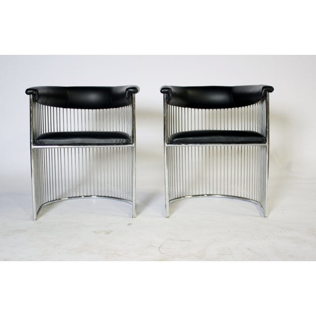 Platner Style Chrome & Black Vinyl Chairs - A Pair - Image 3 of 8
