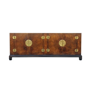 Low Chinoiserie Burl Credenza by Hekman For Sale