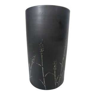 1960s Mid-Century Matte Black Pottery Umbrella Stand For Sale