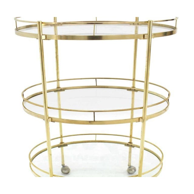 Three-Tier Brass Oval Tea Serving Cart For Sale In New York - Image 6 of 8