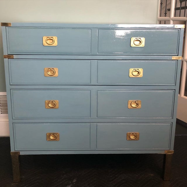 Metal Campaign Style Bachelors Chest by Thomasville For Sale - Image 7 of 8