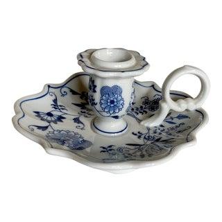 Vintage Blue & White China Candlestick, Retro Home Decor For Sale