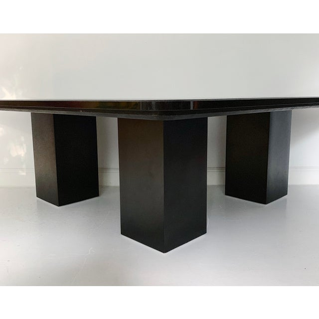 1980s Vintage Modern Sculptural Black Marble Coffee Table For Sale - Image 5 of 6