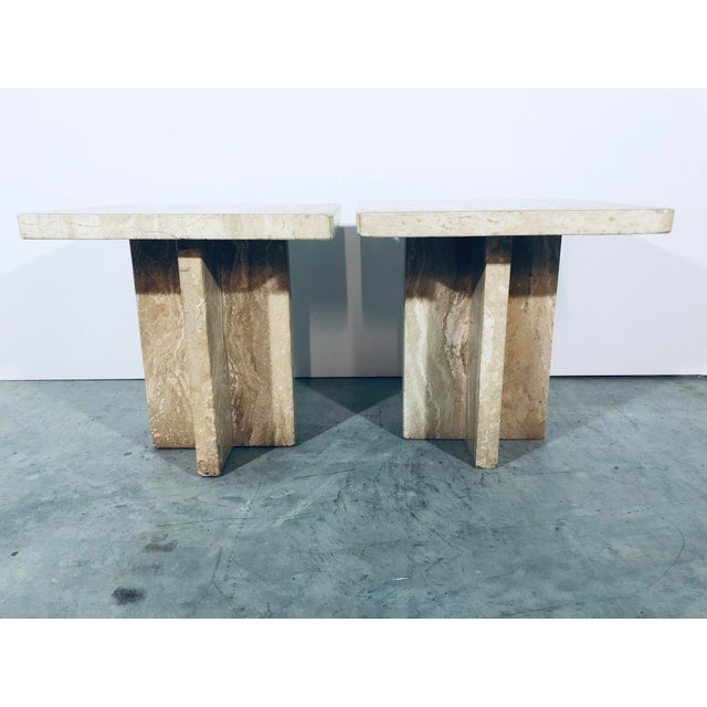 Italian travertine side tables. Made in the 1970s.