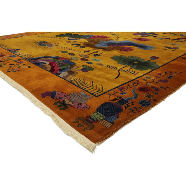 77434 Antique Chinese Pictorial Rug with Art Deco Style 10'00 x 13'04. This hand-knotted wool antique Chinese Art Deco...