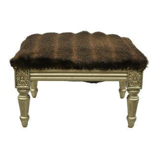 Louis XVI French Style Small Petite Footstool Stool Silver Painted Ottoman For Sale