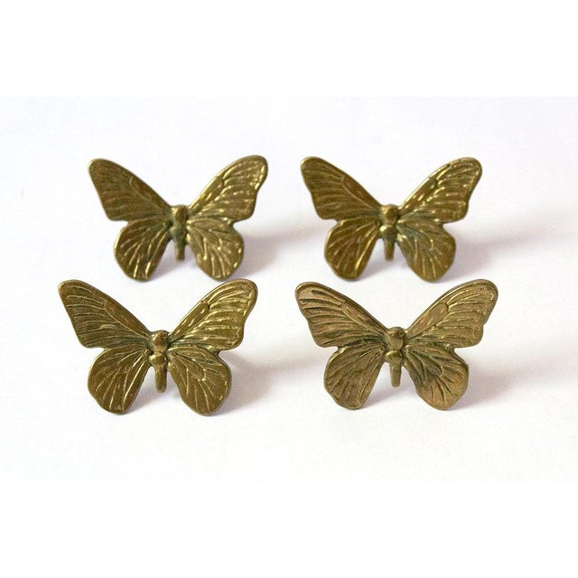 Vintage Mid-Century Brass Butterfly Napkin Rings - Set of 4 For Sale - Image 9 of 9