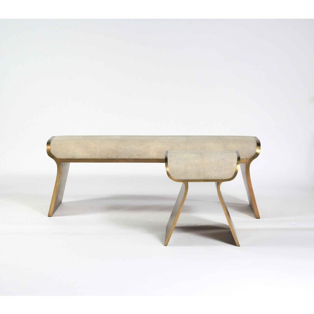 Not Yet Made - Made To Order Dandy Day Bench in Cream Shagreen and Bronze-Patina Brass by Kifu Paris For Sale - Image 5 of 10