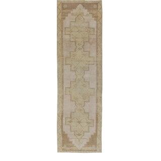 Geometric Design Vintage Turkish Oushak Runner in Lt. Green, Cream and Lt. Brown For Sale