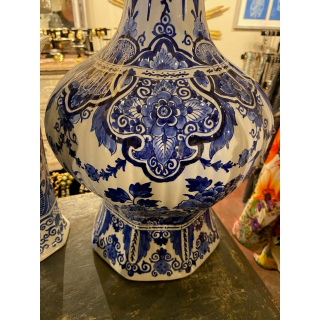 Ceramic Late 19th Century Blue Delft Bird Accented Vase For Sale - Image 7 of 11