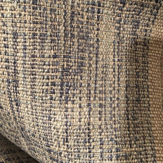 Italian Taupe and Blue Linen Fabric For Sale
