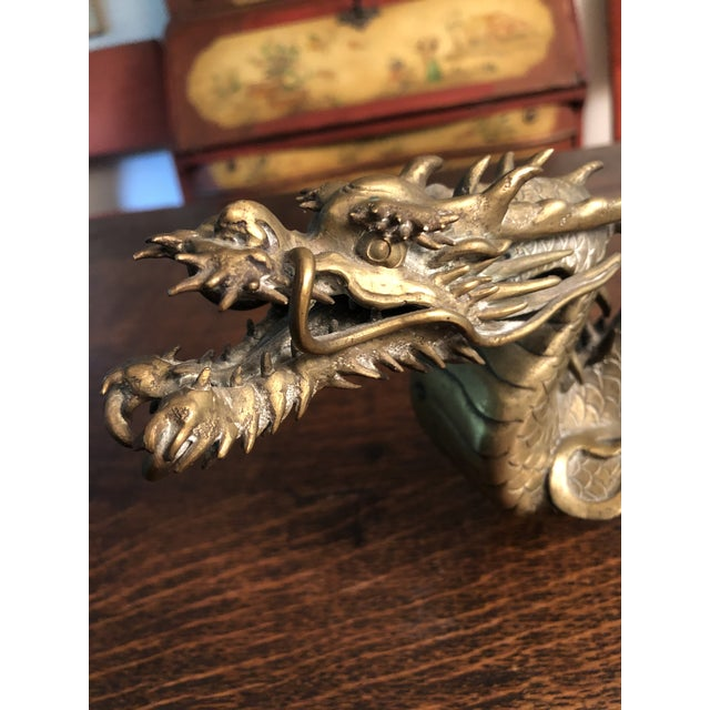 Antique Asian Articulated Dragon Sculpture Holding Glass Ball For Sale - Image 11 of 13