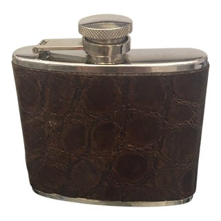 Stainless Steel 4 Oz. Flask With Genuine Alligator Cover For Sale