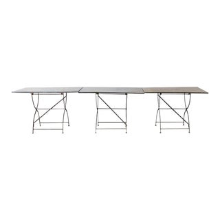 Set of Three French Zinc Folding Garden Tables For Sale