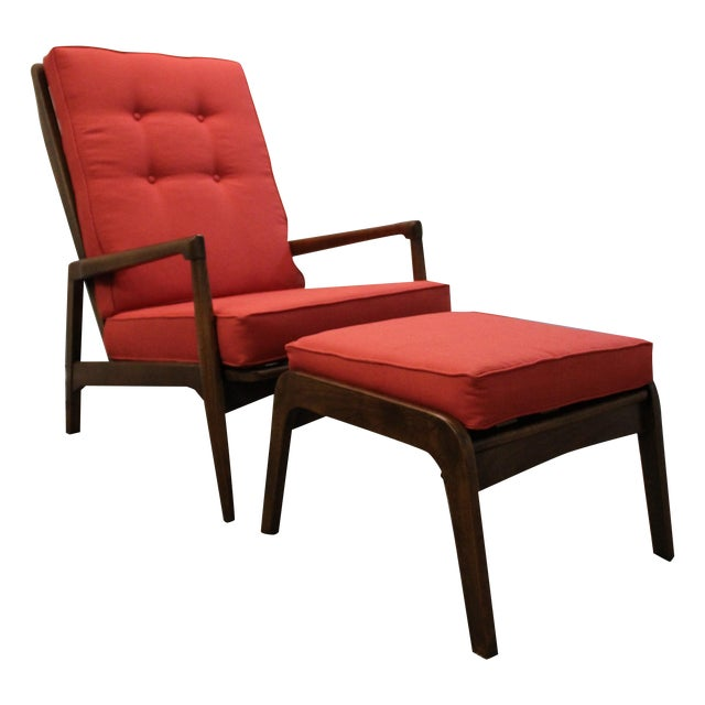 Mid-Century Modern Pearsall-Style Chair & Ottoman - Image 1 of 10