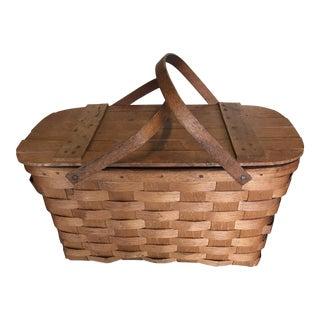 Vintage Wood Basket Signed For Sale