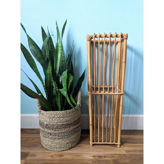 Tall 20th Century French Boho Chic Bamboo Baguette Basket/ Umbrella Stand Preview