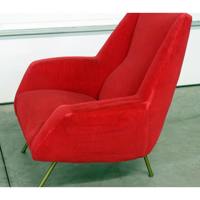 Mid 20th Century Mid 20th Century Red Italian Modern Lounge Chairs - a Pair For Sale - Image 5 of 9