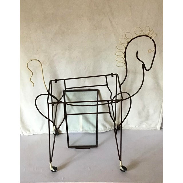 Mid-Century Modern 1950's Horse Pony Rolling Serving Bar Cart By Frederick Weinberg For Sale - Image 3 of 13