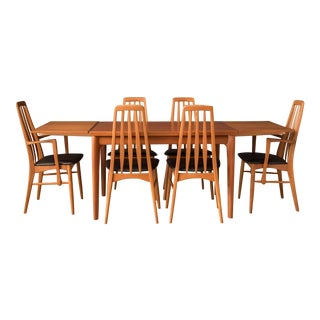Vintage Danish Set of Six Teak Eva Dining Chairs by Niels Koefoed For Sale