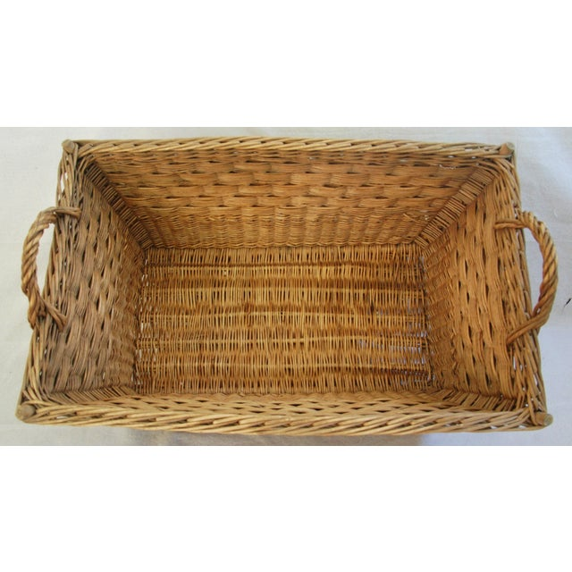 Early 1900s French Willow & Wicker Market Basket For Sale - Image 5 of 9