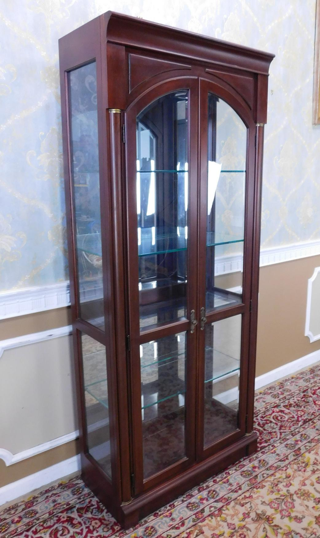Ethan Allen Medallion Collection Cherry U0026 Glass Curio Display Cabinet    Image 2 Of 11