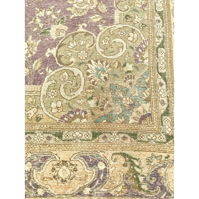 Large Antique Turkish Plum, Green, Beige Wool Rug - 9′5″ × 12′5″ For Sale - Image 9 of 13