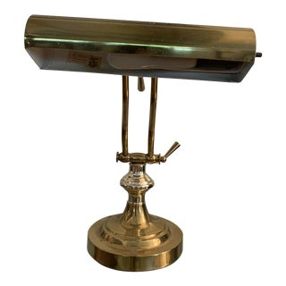 Mid 20th Century Brass Piano Lamp/Bankers Lamp For Sale