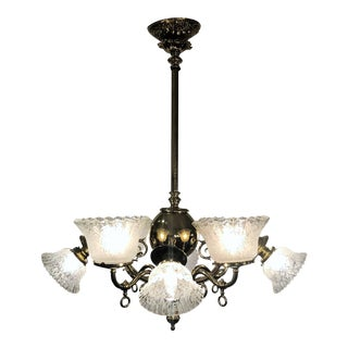 Antique Brass Victorian Chandelier For Sale