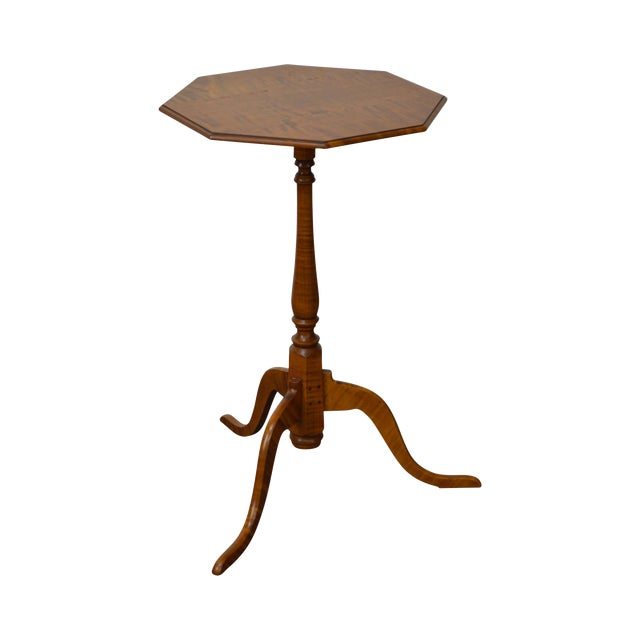 Eldred Wheeler Tiger Maple Snake Foot Candle Stand For Sale