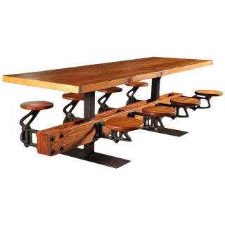 Industrial Swing-Out-Seat Restaurant Dining Table For Sale