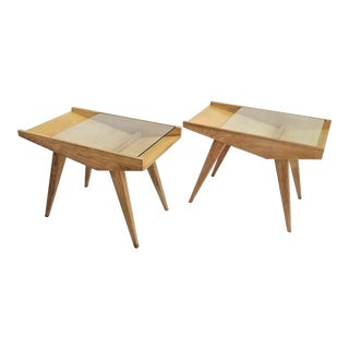 Pair End Tables or Nightstands Magazine Style -1950s Vintage Blond Wood and Glass For Sale