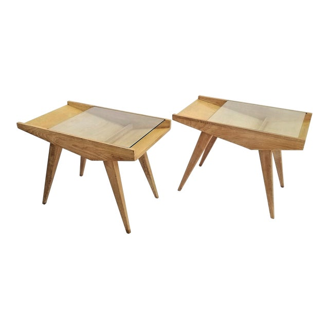 Pair End Tables or Nightstands Magazine Style -1950s Vintage Blond Wood and Glass - Mid Century Modern Minimalist Sleek For Sale