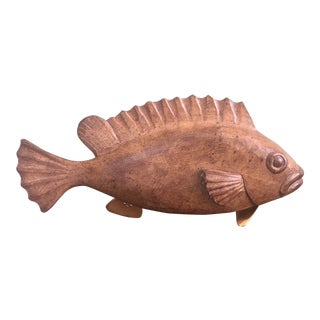 Mid-Century Wood Fish Sculpture For Sale