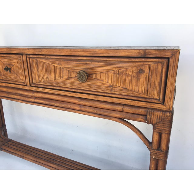 Ethan Allen Burnt Bamboo Rattan 3 Drawer Console Table For Sale - Image 5 of 7