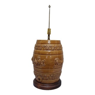 English Stoneware Spirit Barrel Lamp For Sale