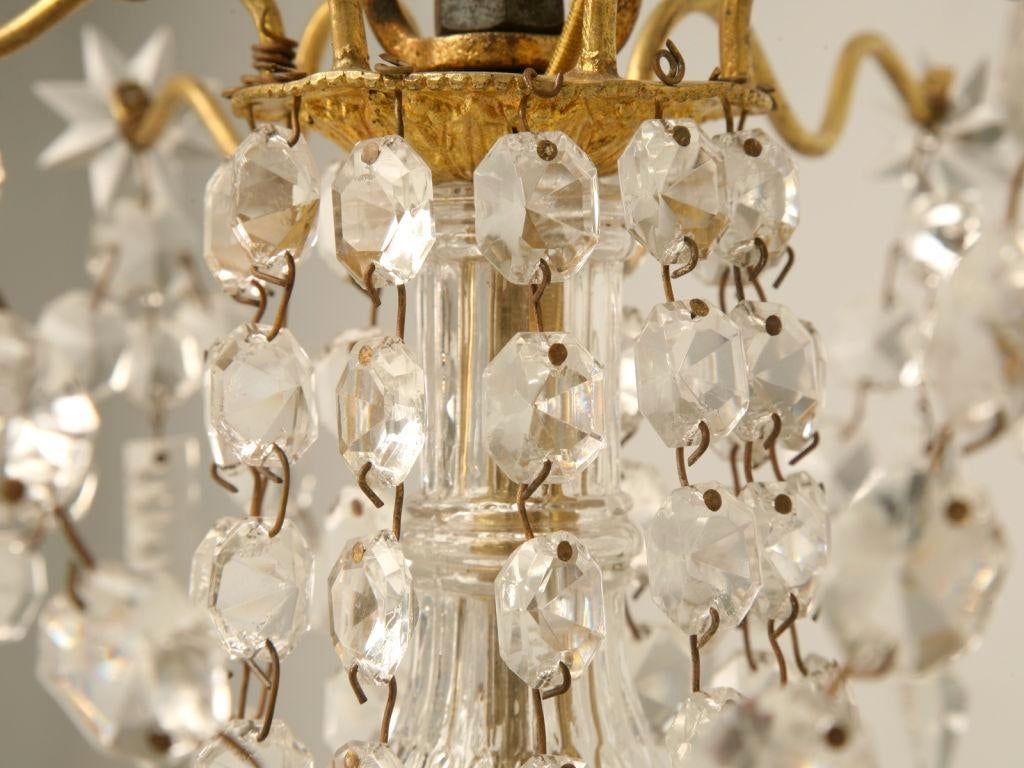 C 1940 French Baccarat Style 6 Light Crystal Chandelier