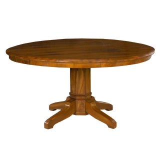 Biedermeier Style Antique Walnut Circular Round Dining Table, 19th Century For Sale