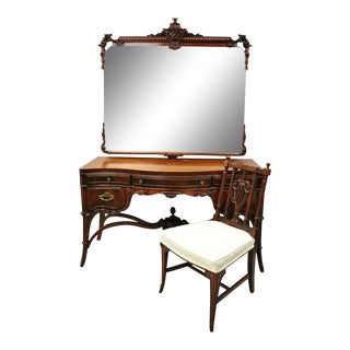 Antique Chinese Chippendale Carved Flame Mahogany Vanity Pagoda Mirror Chair Set For Sale