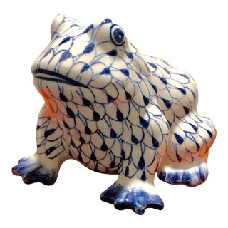 Vintage Blue and White Ceramic Handpainted Frog Figure For Sale