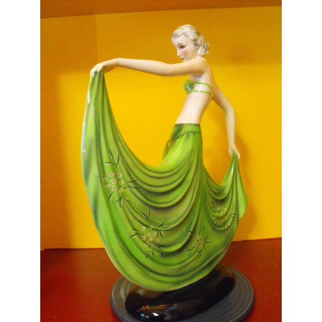 "Art Deco C. 1939 Goldscheider Dancer by Stefan Dakon, ""Alpete"", Original Paper Label For Sale - Image 3 of 11"