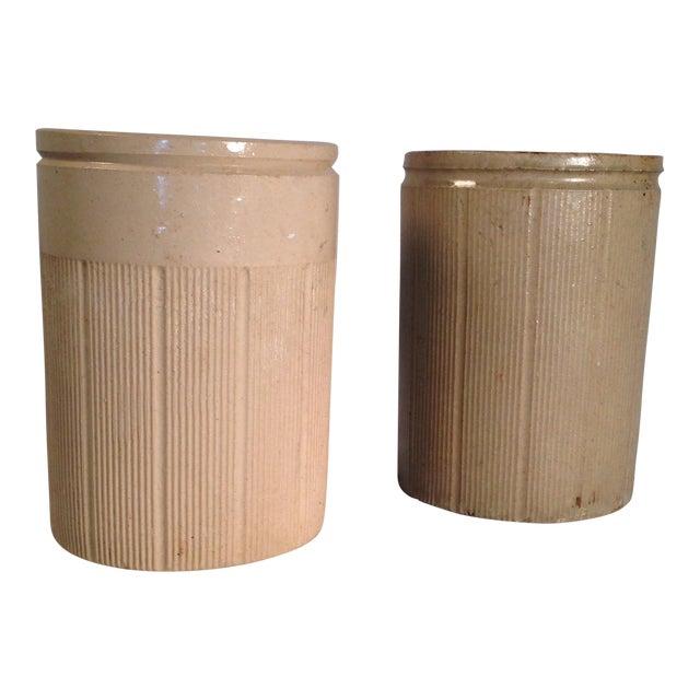 Vintage English Crock Storage Jars - a Pair - Image 1 of 4