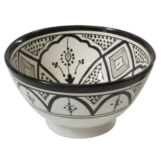 Moroccan Design Black & White Cereal Bowl - Image 1 of 3