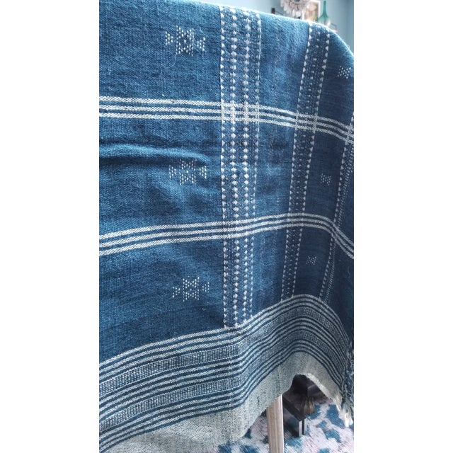 Indigo With Shell Kutch Throw For Sale In New York - Image 6 of 7