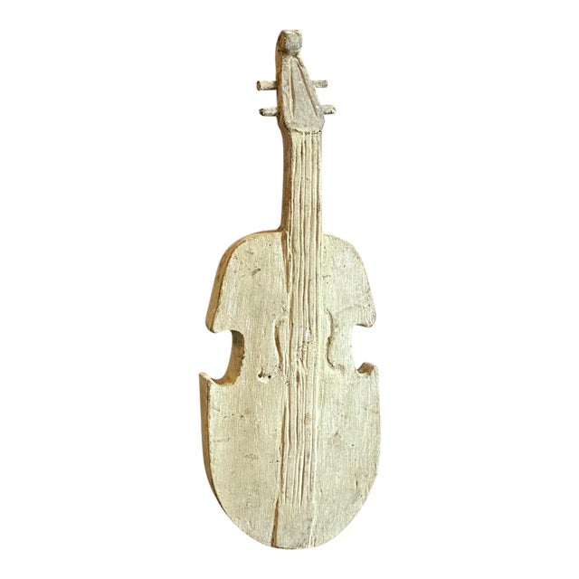 18th Century Ancient Wooden Guitar Fragment on an Iron Base For Sale