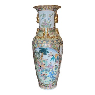 """Mid 20th Century Cantonese Palace Vase 8 Immortals. 55"""" For Sale"""